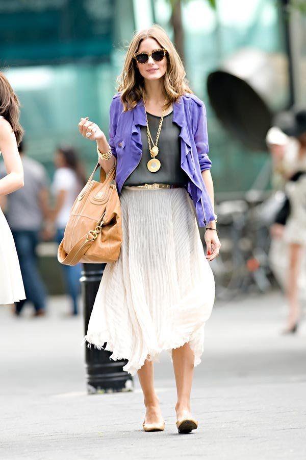 Olivia Palermo ~ pleated midi skirt