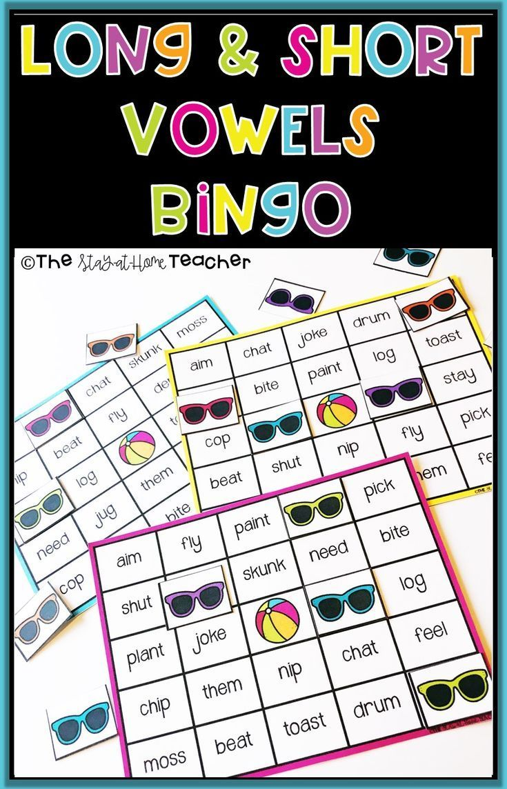 Long And Short Vowel Bingo With Images Spelling Patterns