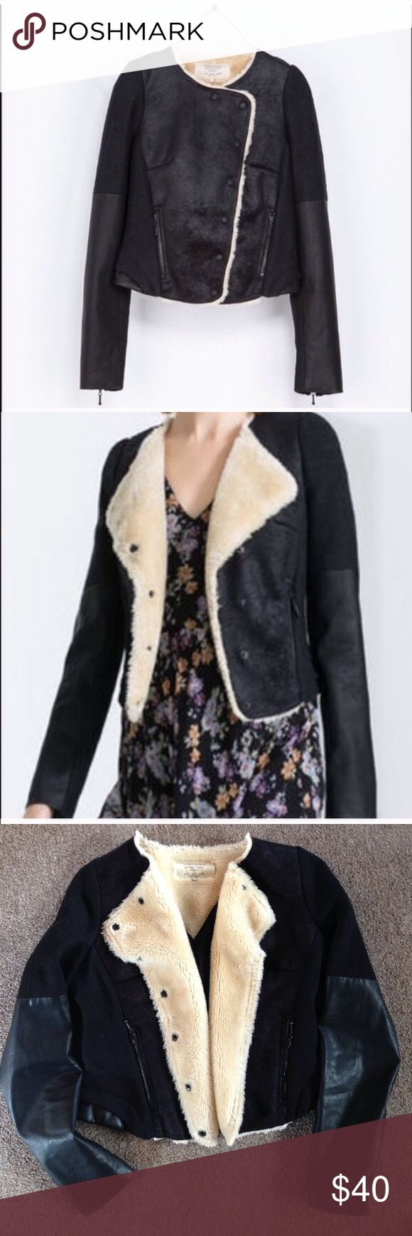 Zara Trafaluc black jacket with faux leather & fur So sad to re-Posh. Ive never worn it, it's in immaculate condition. Just a little too short for me. Listing price is exactly what I paid for it Zara Jackets & Coats