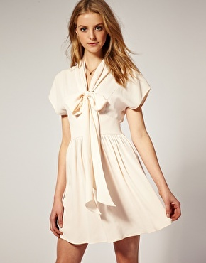asos pussybow shirred back dress with draped front kleider