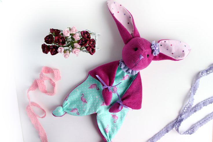 Baby Comforter, Plush Bunny, Sleep Cloth, Pink Bunny, Stuffed Sensory Toy, Blanket Fabric Toy, Plush Rabbit by TildaArt on Etsy