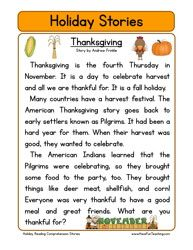 Second Grade Reading Comprehension Worksheet - Holiday Stories - Thanksgiving
