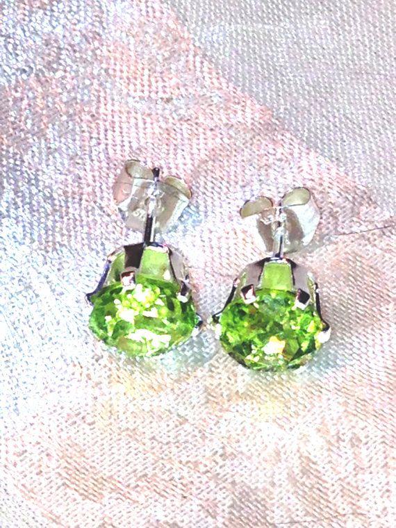 Large Peridot Stud Earrings Handmade Jewelry by NorthCoastCottage, $179.00