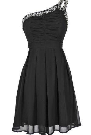 Night Moves Embellished One Shoulder Dress in Black  www.lilyboutique.com