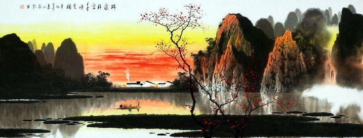 Bergen, water, bomen - Chinees schilderij - Artisoo