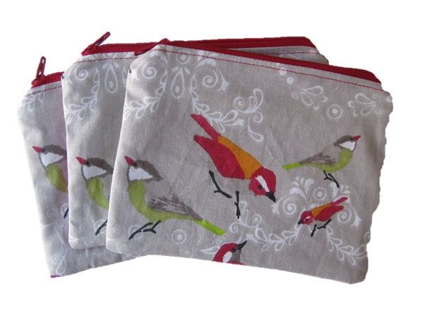 A Little Bird Makeup Bag, Designer Fabric, Pink Co-ordinated Back, Cosmetic Purse, Red Zip Purse, Birds Zip Pouch by BobbyandMeSew on Etsy