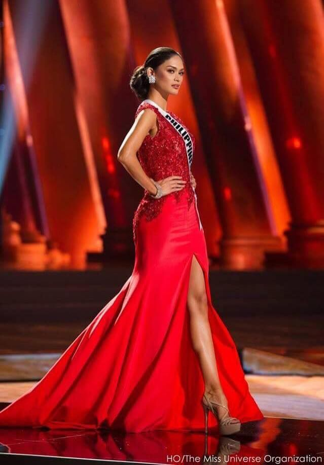 Wurztbach wears a red crepe de chine gown with Swarovski- beaded bodice by Los Angeles- based Filipino designer Oliver Tolentino during the Miss Universe preliminary show. (THE MISS UNIVERSE ORGANIZATION)