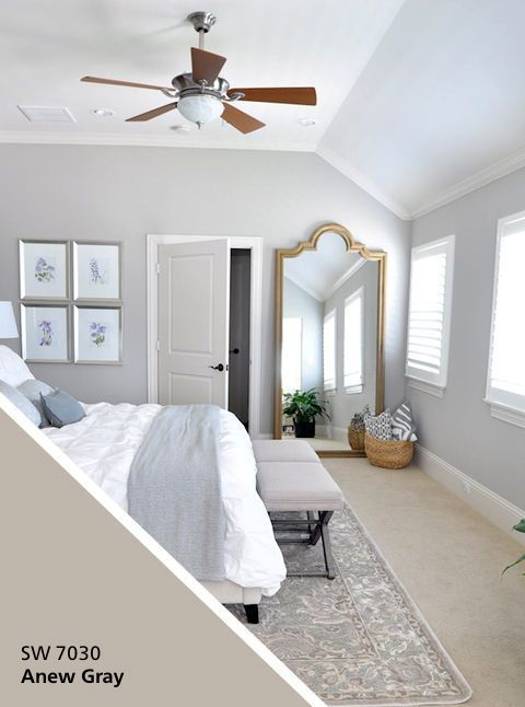 Not only does an oversized gilded mirror make a statement, it creates the appearance of more space and works especially well in rooms with softer colors. Click through for more bedroom color ideas and romantic decor tricks.