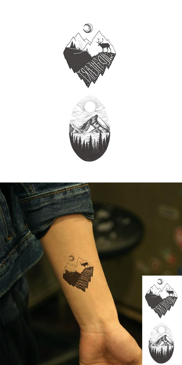 [Visit to Buy] Waterproof Temporary Fake Tattoo Stickers Vintage Grey Mountain Forest Tree Design Make Up Tool #Advertisement
