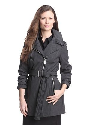 69% OFF Anne Klein Women's Rain Coat with Faux Leather Trim (Dark Charcoal)
