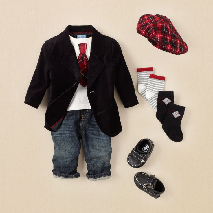 blazer best    he'll look his blazer best in this outfit -- a little like dad's only cuter! we pair our velvet blazer with a 2-in-1 tie bodysuit, jeans and matching cap. he's already to say 'cheese'!