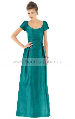 Short Sleeves Zipper Scoop Floor-length Satin Evening Dresses esfa307199--Hodress