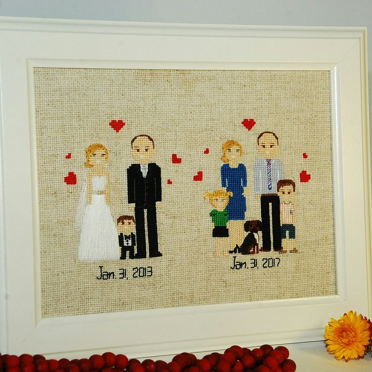 Cross Stitch Family Portrait 4th Wedding Anniversary Fourth Gift 4 Year Linen Silk