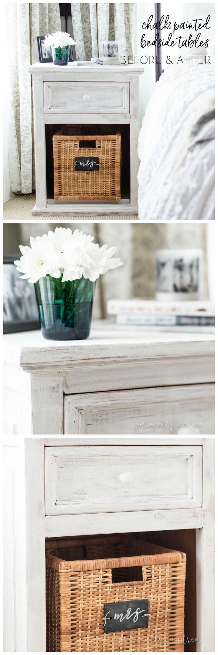 How to whitewash dated pine bedside tables with white chalk paint for a fresh farmhouse look. Includes before and after photos | http://personallyandrea.com
