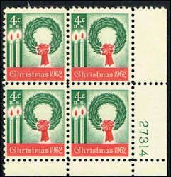 US #1205 Stamps for sale  4 cents Christmas 1962 Stamps MNH  Wreath and Candles  Plate Block of 4  LR 27314  US 1205-19 PB