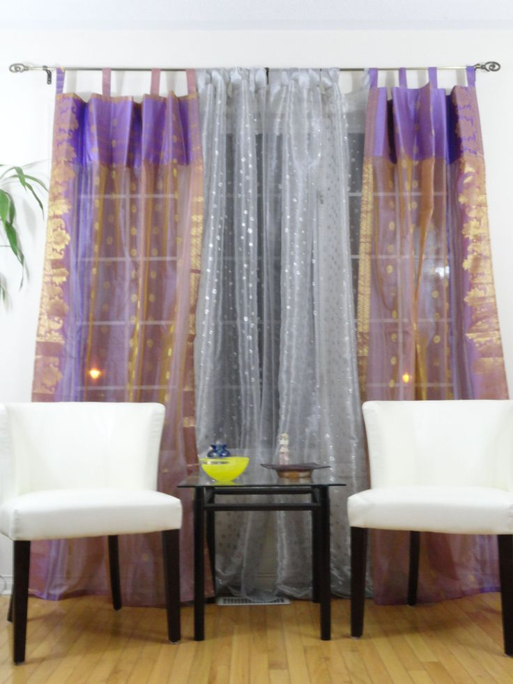 French Window curtains, drapes or valences. Ethnic home decor idea. Mauve, lavender gold organza Indian curtains. From Artikrti by Artikrti on Etsy