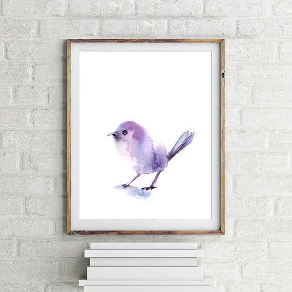 Bird art print, aquarel schilderij vogel, vogel kunst aan de muur, minimalistische print, paarse vogel schilderen en aquarel kunst