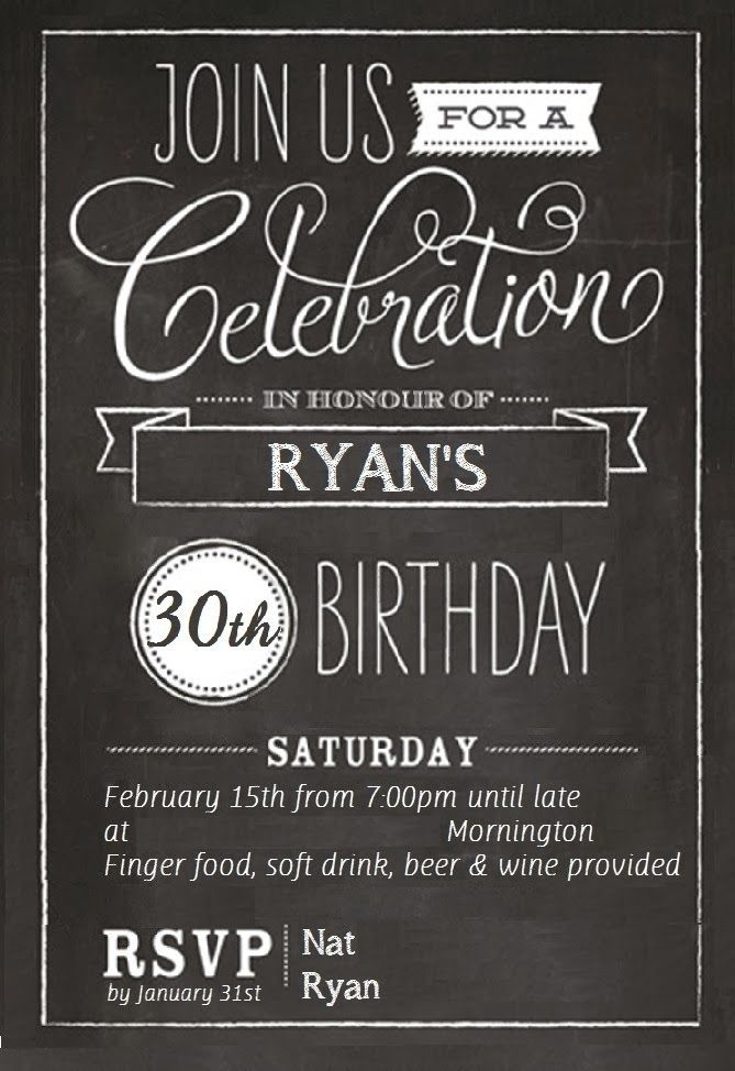 17 Best ideas about 30th Birthday Invitations – Male 30th Birthday Invitations