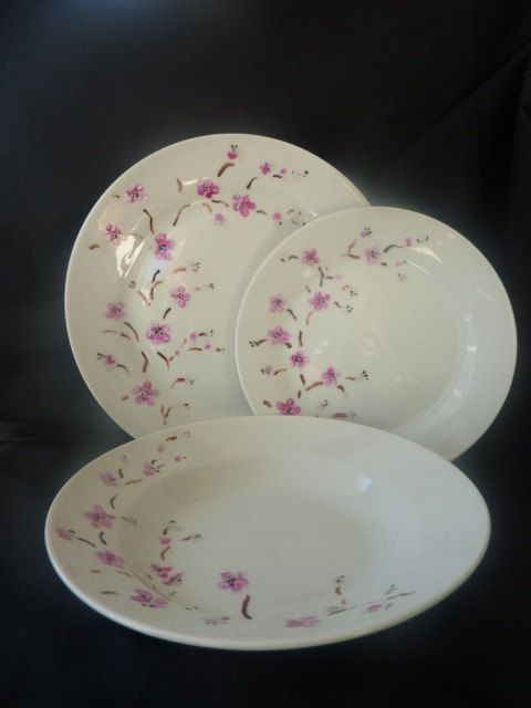 Japanese Blossom Design Plate Side Plate and Bowl by cococloudsuk