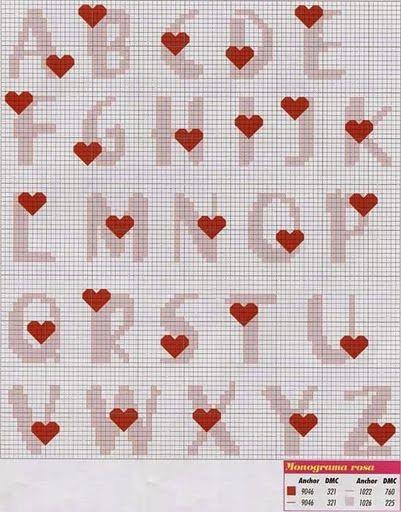 Punto de cruz: alfabeto con corazones.