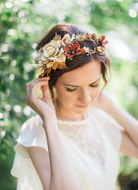 fall wedding headpiece fall flower crown rustic by thehoneycomb