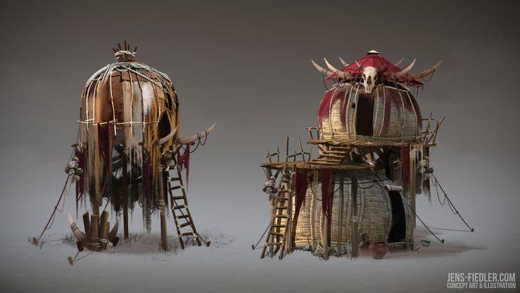 Orc huts, Jens Fiedler on ArtStation at https://www.artstation.com/artwork/orc-huts