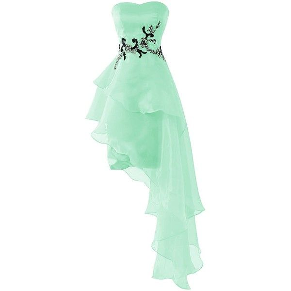 Dresstells® Women's Short Prom Dress Organza Party Dress with Beads:... ❤ liked on Polyvore featuring dresses, beaded dress, prom dresses, organza dress, short cocktail dresses and short green cocktail dress