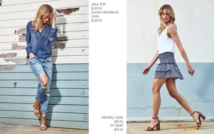 KENDELL WHITE TANK TOP WITH IVY FRILL SKIRT  AND LEILA CROSSOVER TOP AND ELIANA DISTRESSED BOYFRIEND JEAN