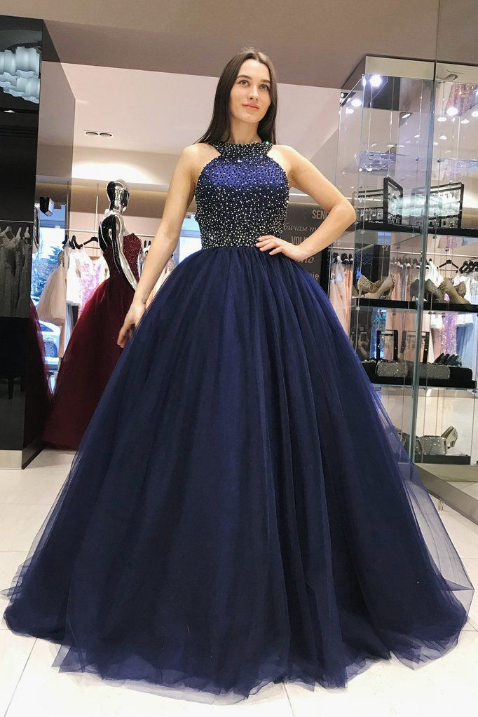 e37346d2763 Elegant Scoop Royal Blue Ball Gown Beading Prom Dresses