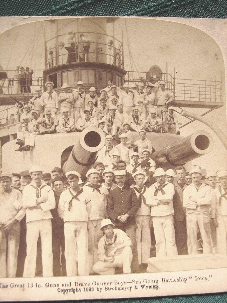 US Navy Battleship USS IOWA 13in Guns & Brave Gunner Boys - antique stereoview