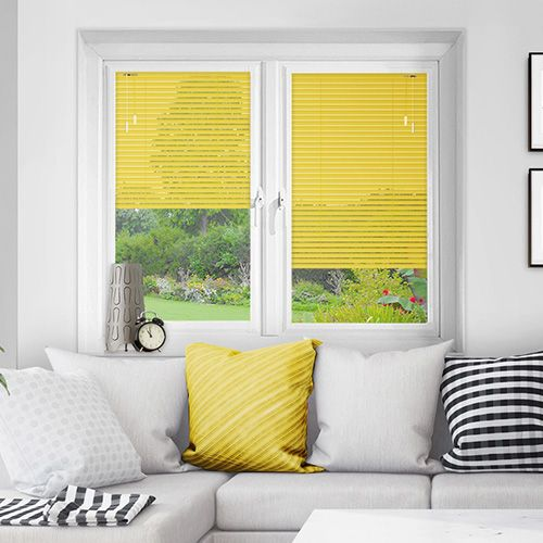 A soft Lemon Yellow Matt Perfect Fit venetian, only available in a 25mm slat width