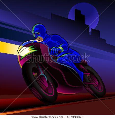 Super hero motorbike rider. Vector illustration on a background - stock vector