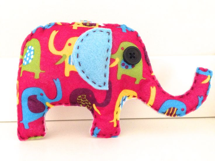 Hand sewn felt elephant.  Follow us on Facebook www.facebook.com/ck.kreations