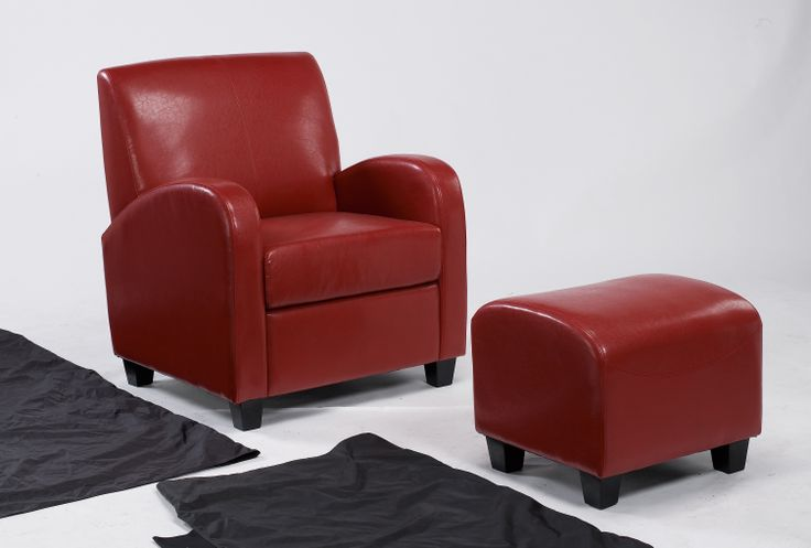 """Red Club Stool & Chair  These attractive faux leather Club chairs and complementary stools are the perfect place to """"take the weight off"""" and relax a while. Supplied fully assembled in one carton.  Stool Dimensions: W500mm x D470mm x H430mm Chair Dimensions: W755mm x D750mm x H920mm"""
