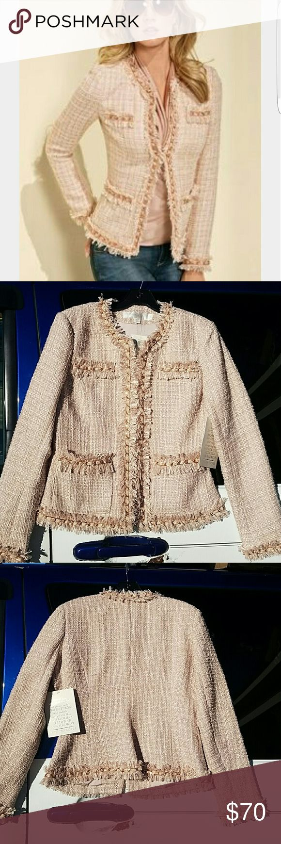 Parisian Jacket Rose Gold Best selling iconic jacket with fringed hems, chain piping and allover shimmer. Seamed for shaping with true front pocket Hook and eye closure. Polyester/wool, imported, dry clean, Sensuously shaped. Rose Gold Boston Proper Jackets & Coats