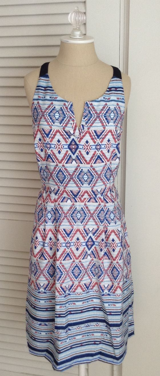 Really like this tribal print dress in someone's Feb Stitch fix. Love the colors and the border at the bottom--cute dress!