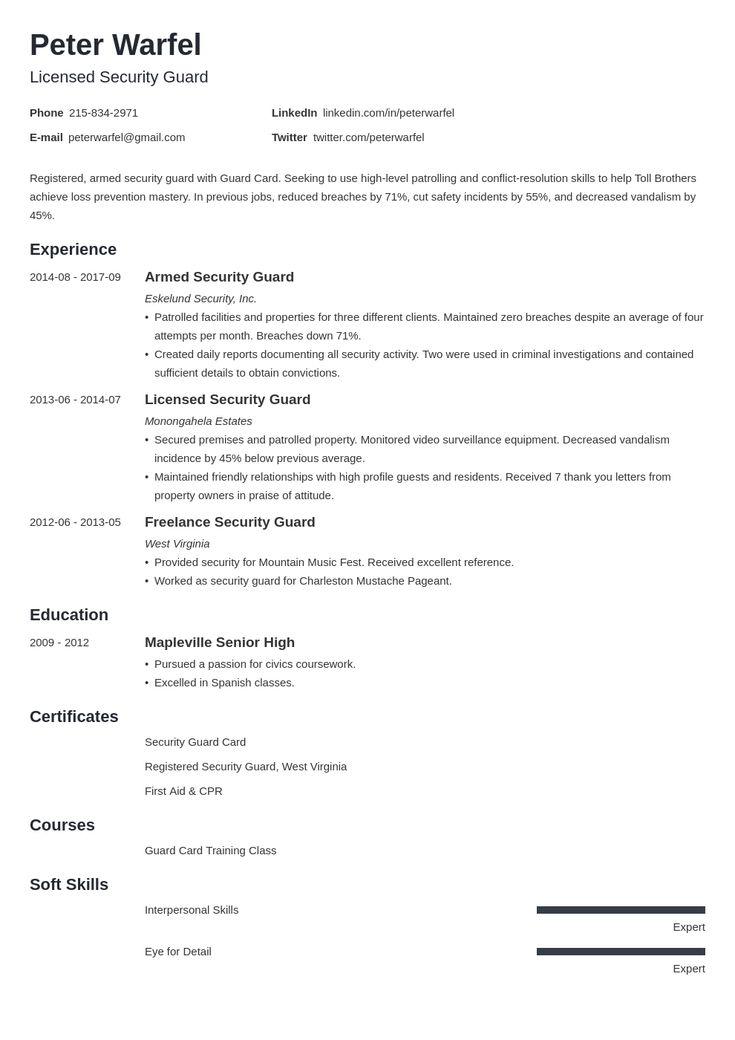 security guard resume example template minimo  job