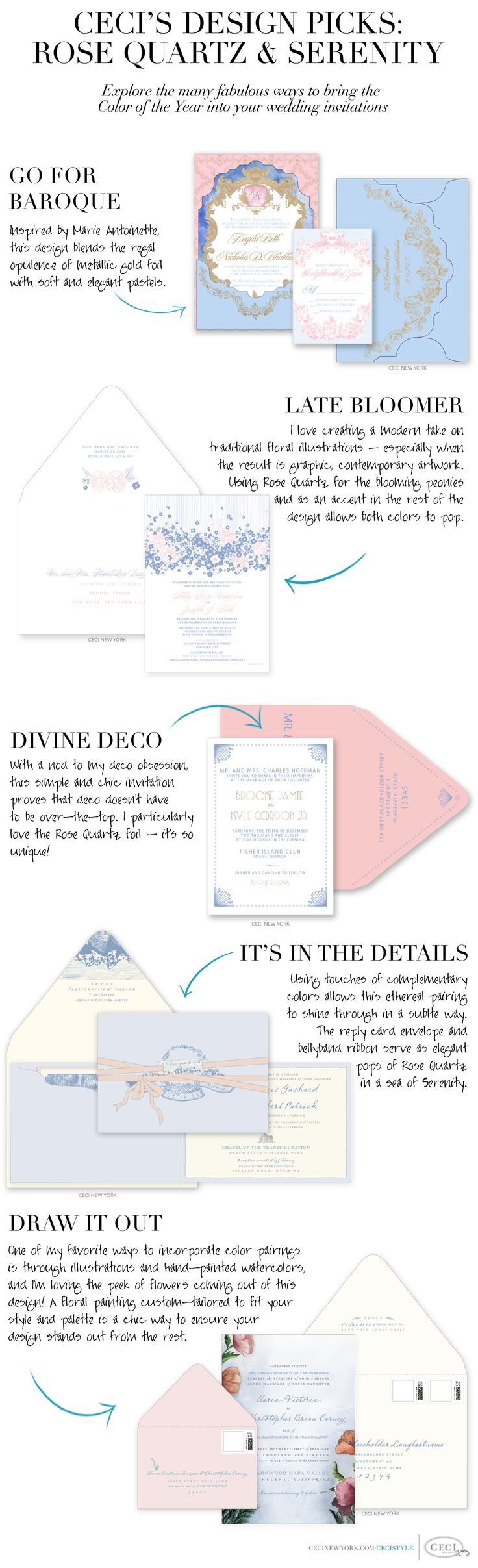 Explore the fabulous ways to bring the Color of the Year 2016 into your wedding invitations