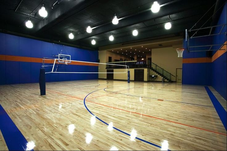 17 best images about haute home gyms spas on pinterest for Indoor basketball court size