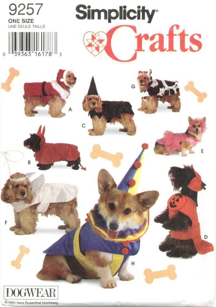 Simplicity 9257 Dogwear Dog Costumes Santa Angel Clown Sewing