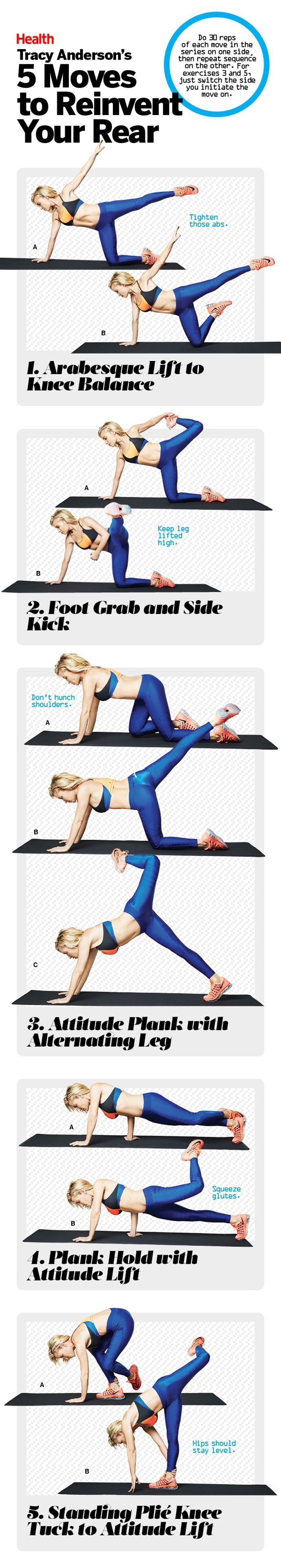 Craving a better butt? This home workout from Tracy Anderson includes five challenging glute exercises that will lift and tighten your rear. | Health.com