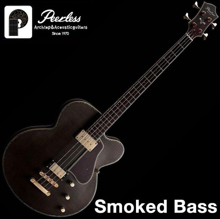 Peerless Smoked Bass Custom Semi Hollow Body Flame Maple OHSC 4 String Humbucker #Peerless