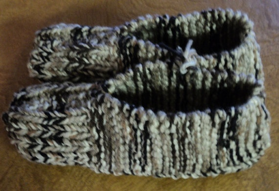 Hand Knitted Slippers  Shades of Brown by CountryCrafts4You, $12.50