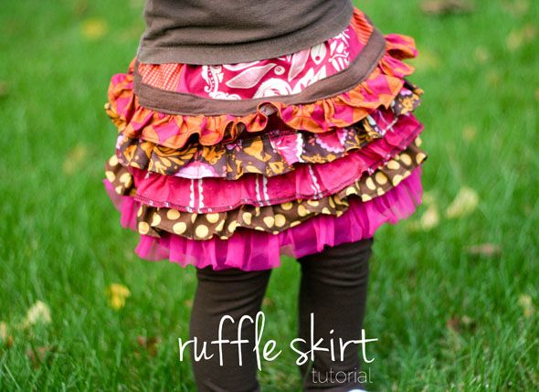 Ruffle skirt made from scraps of material