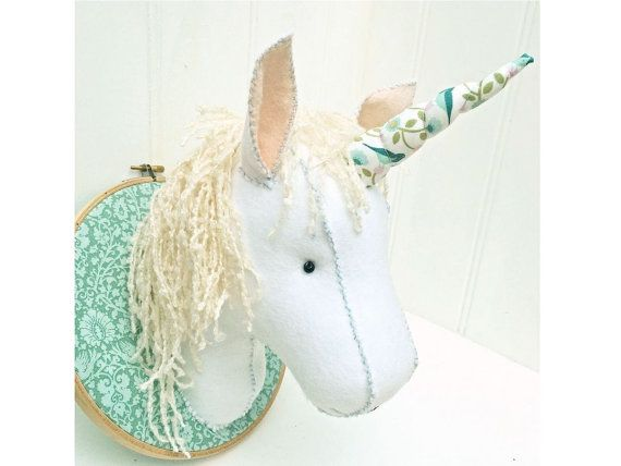 Faux Taxidermy Felt Unicorn Head Pattern pdf by BustleandSew