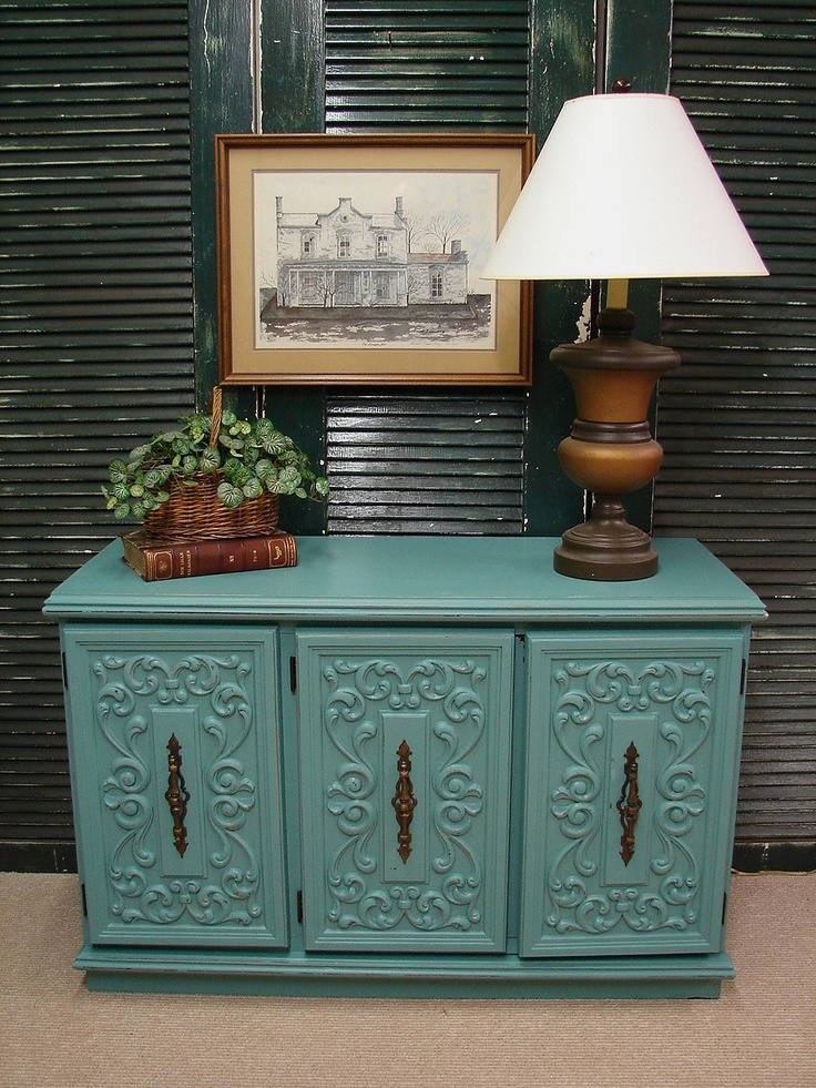 Merveilleux Reclaimed Vintage Robin Egg Blue Paint Ornate 60s Dresser Baby Credenza  Media Console Chest Of Drawers (BT) Call For SHIP QUOTE
