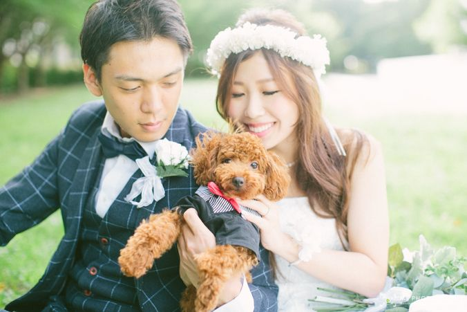 愛犬 ペットと前撮り 結婚式 ペット ウェディング 前撮り 参考写真 ウェディングフォトグラフィー