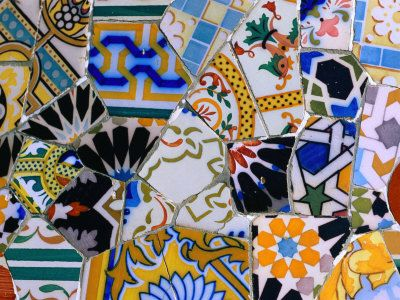 Detail of Tilework by Gaudi at Palau Guell, Barcelona, Catalonia, Spain