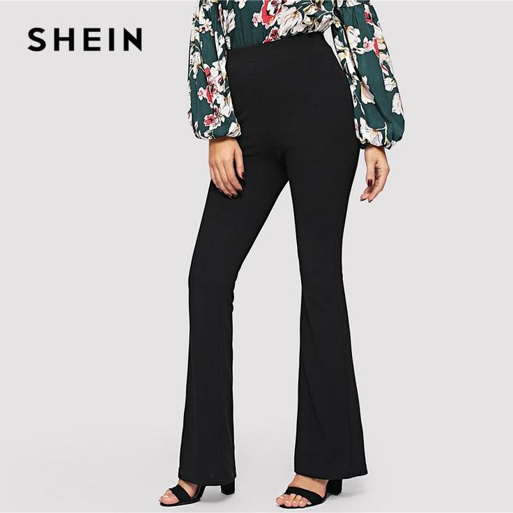 SHEIN Black Elegant Office Lady Elastic Waist Flare Hem Pants Casual Solid Minimalist Pants 2019 Spring Women Pants Trousers
