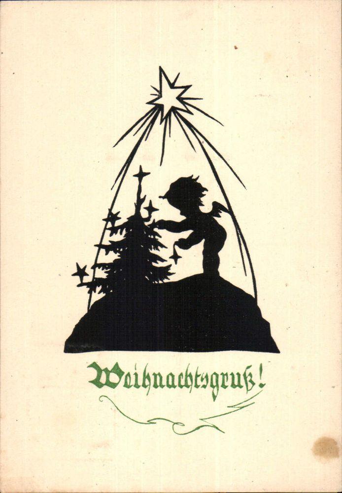 4080 scherenschnitt postkarte 1949 weihnachten